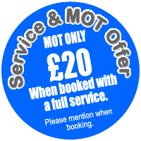 MOT Only £20 when booked with a service.